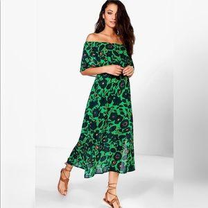NWT Boohoo Tall Adrea dbl layer frill maxi dress